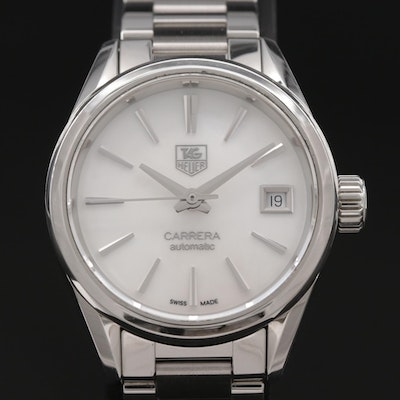 TAG Heuer Carrera Calibre Mother of Pearl Dial Stainless Steel Wristwatch