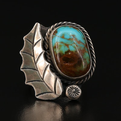 Southwestern Style Sterling Turquoise Leaf Ring