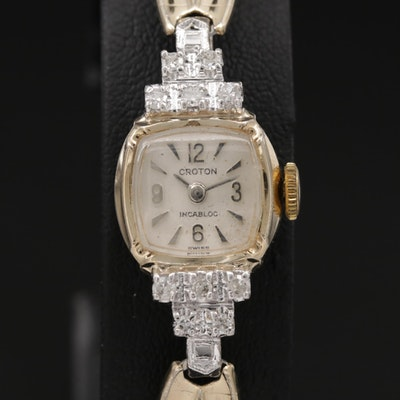 Swiss Croton Diamond Stem Wind Wristwatch
