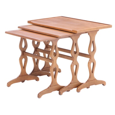 Blonde Mahogany Nesting Tables, Mid to Late 20th Century