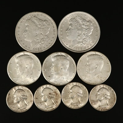 Nine U.S. Silver Coins, 19th & 20th Century