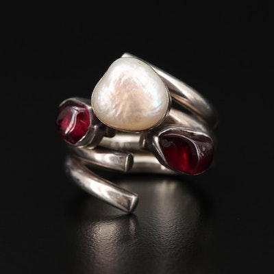 Lilly Barrack Sterling Silver Garnet and Cultured Pearl Ring