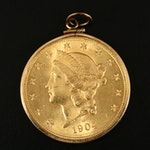 1904-S Liberty Head $20 Gold Double Eagle Mounted in a Bezel