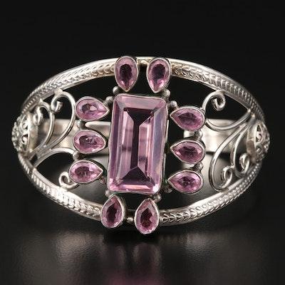 Sterling Silver Pink Openwork Cuff Bracelet