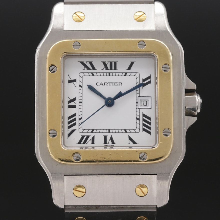 Cartier Santos DeGalbee Automatique 18K Gold and Stainless Steel Wristwatch