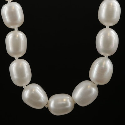 Cultured Pearl Strand Necklace With Sterling Silver Clasp