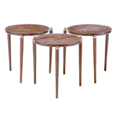 Mid Century Modern Walnut-Grained Laminate Nesting Tables, Mid 20th Century
