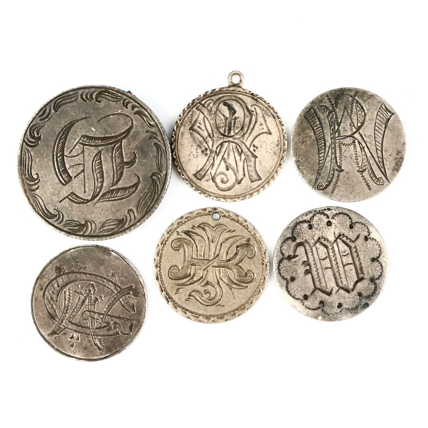 "Six Hand-Engraved ""Love Tokens"" Made from Liberty Seated Silver Coins"