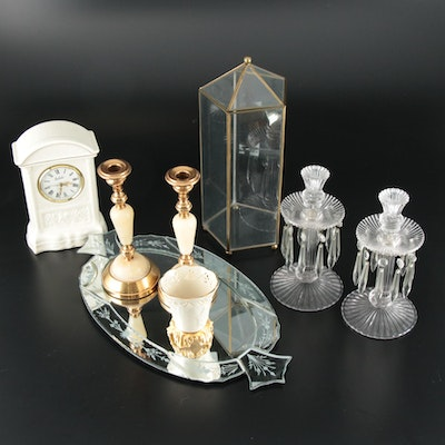 Belleek, Lenox, and Other Candlesticks and Vanity Decor