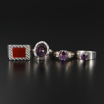 Collection of Sterling Rings with Synthetic Color Changing Sapphire and Amethyst
