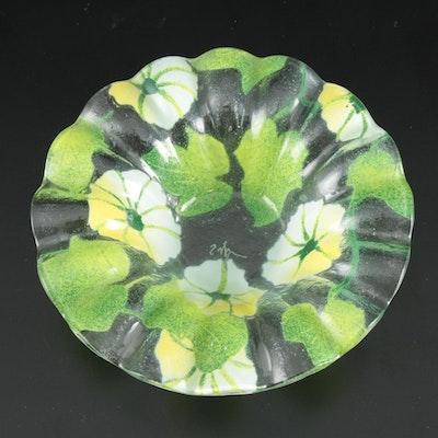 Signed Art Glass Foliate Motif Bowl