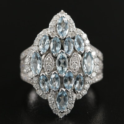 14K White Gold Aquamarine and 1.06 CTW Diamond Ring
