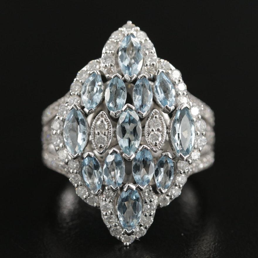 14K White Gold Aquamarine and 1.06 CTW Diamond Ring