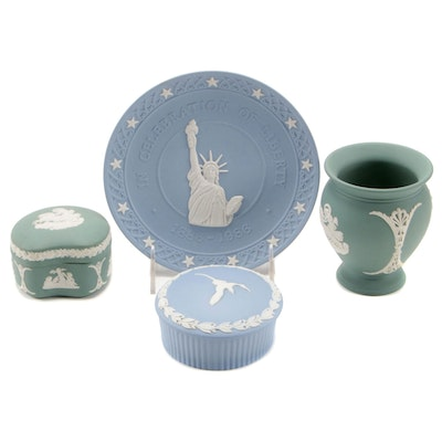 Wedgwood Green and Blue Bas Relief Jasperware Trinket Boxes and More