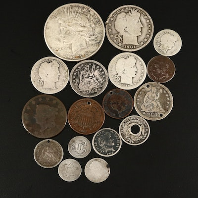 Seventeen Antique to Vintage U.S. Type Coins, Including Silver