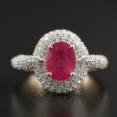Sterling Ruby and White Sapphire Ring