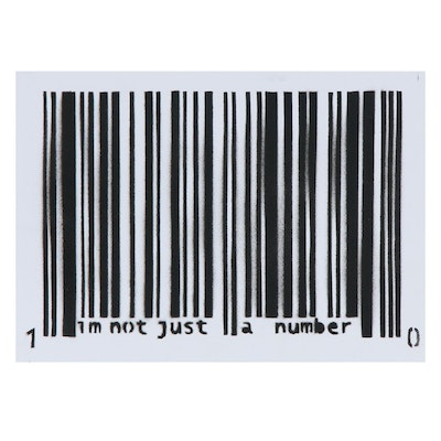 Madderdoit? Barcode Stenciled Acrylic Painting, 2016