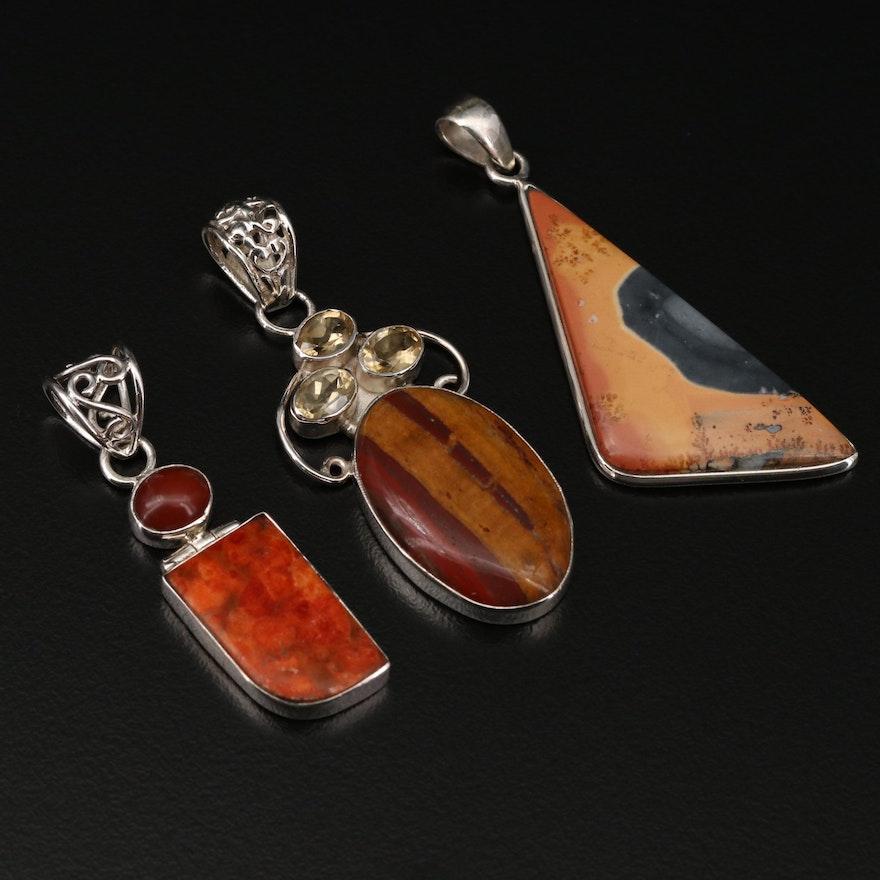 Sterling Silver Japser, Citrine and Sponge Coral Pendants
