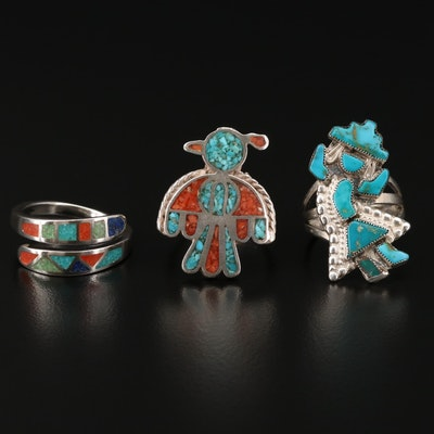 Sterling  Turquoise and Coral in Resin Rings With  Relios for Carolyn Pollack