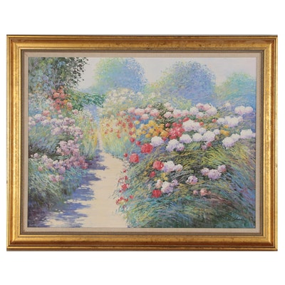 Charles Zhan Oil Painting of Flower Garden