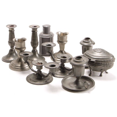 Carr Craft and F. B Rogers Pewter Candlesticks, Tea Caddy and Footed Box