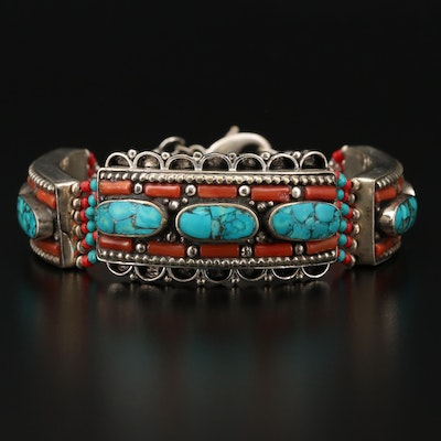 Tibetan Style Stone Chips, Coral and Glass Bracelet