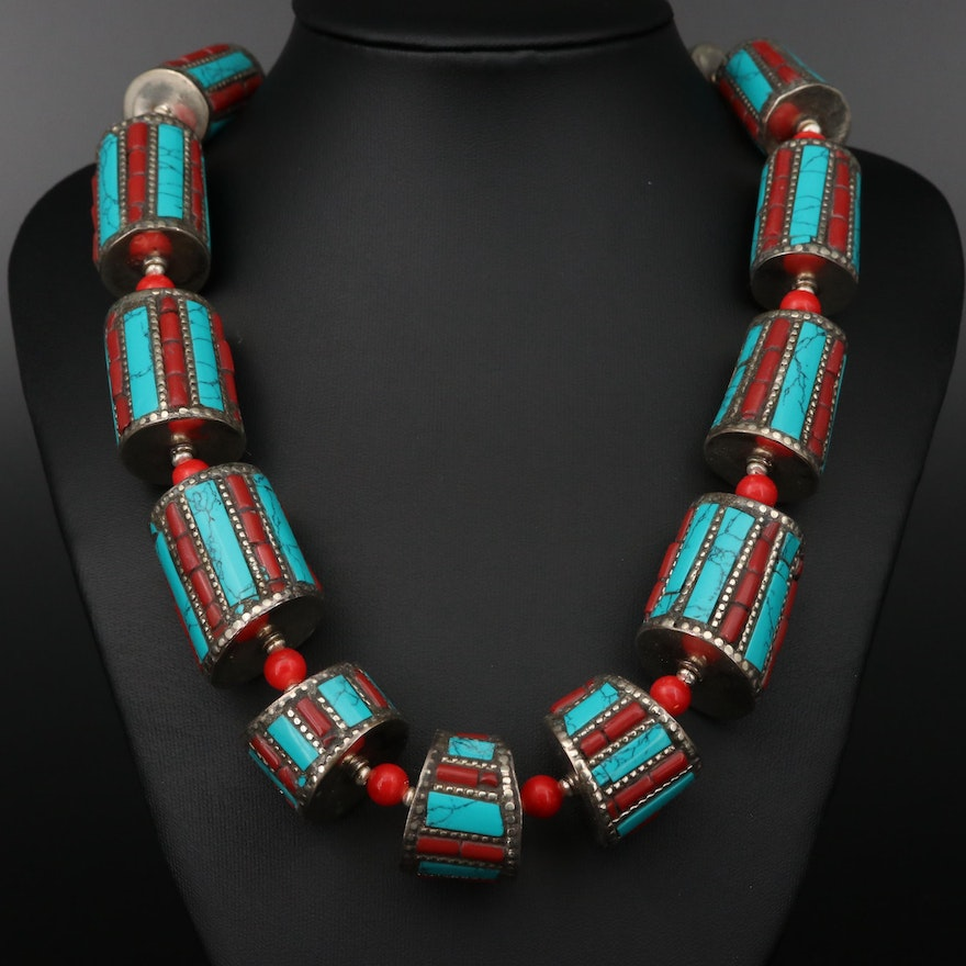 Tibetan Style Coral and Howlite Beaded Necklace