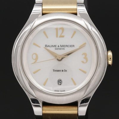 Baume & Mercier For Tiffany & Co. Ilea 18K Gold and Stainless Steel Wristwatch
