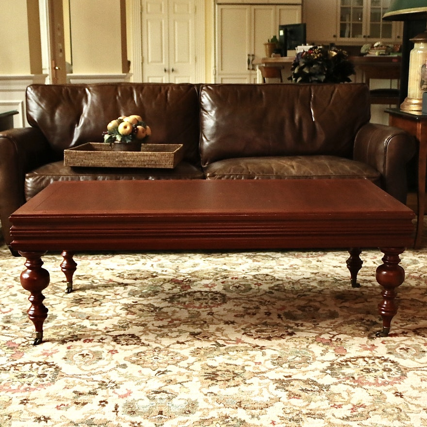 Mahogany Coffee Table on Casters with Glass Top