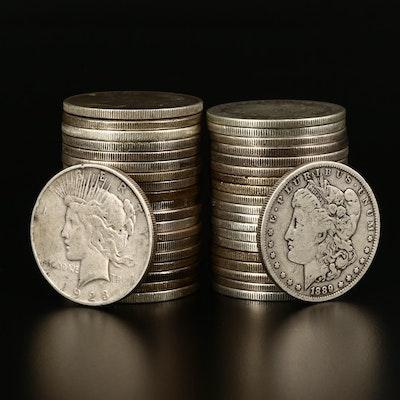 Twenty Morgan and Twenty Peace Silver Dollars