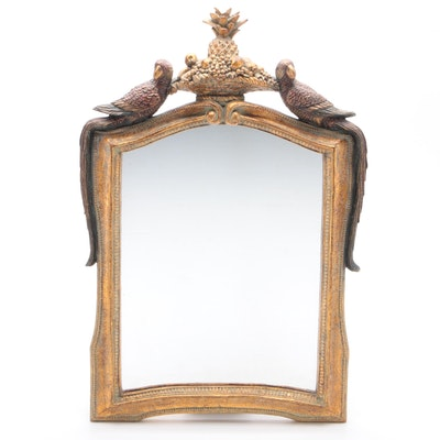 Cast Resin Mirror with Parrot and Fruit Basket Motif