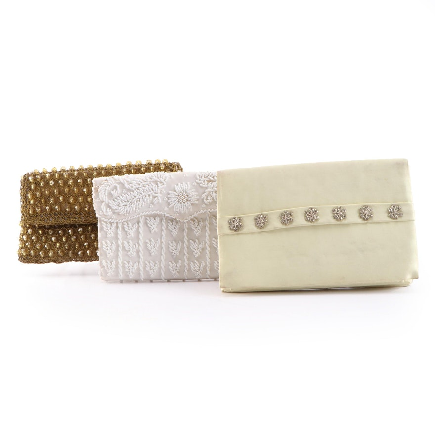 Evening Clutch Purses with Bead and Metallic Thread Embellishments, Vintage
