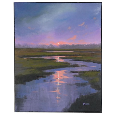 "Douglas ""Bumo"" Johnpeer Oil Painting ""Morning Marsh"", 2015"