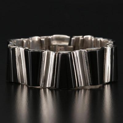 1950s - 1960s Modernist Antonio Pineda 970 Silver Obsidian Link Bracelet