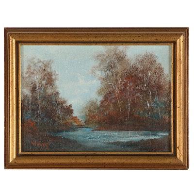 Patt Crothers Whipp Miniature Landscape Oil Painting, 20th Century