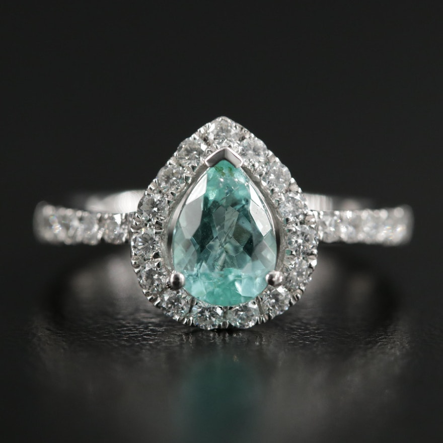 Platinum Tourmaline and Diamond Ring