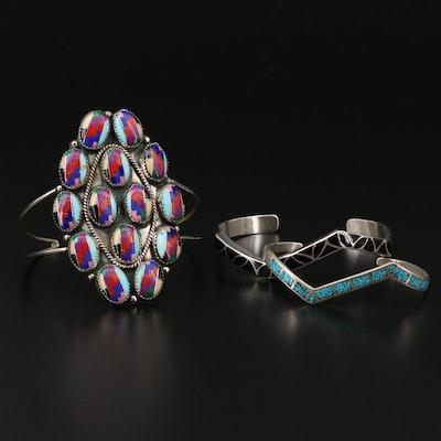 Sibert & Janite Kallestewa Zuni Ring Black Cuff Bracelet with Inlay Cuffs