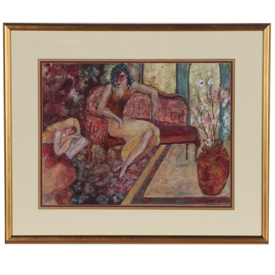 Gouache and Watercolor Painting of Two Women Lounging