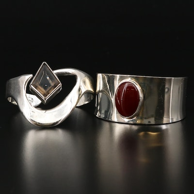 Mexican Sterling Silver Carnelian and Glass Cuff Braclet