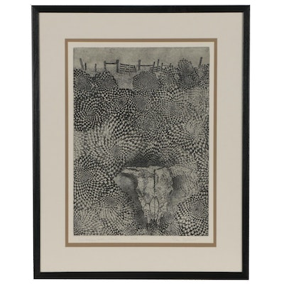 "Don Gilbert Etching ""Landscape with Skull"""