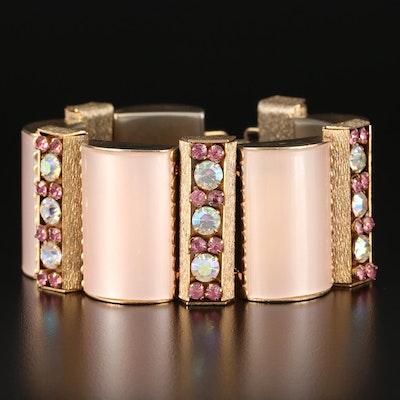 Vintage Lucite and Glass Panel Bracelet