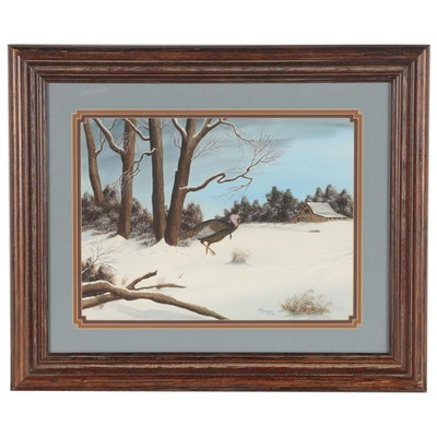 Bill Selfridge Winter Landscape Watercolor Painting with Turkey, 1984