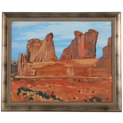 "Paul Wolven Oil Painting ""Arches"""
