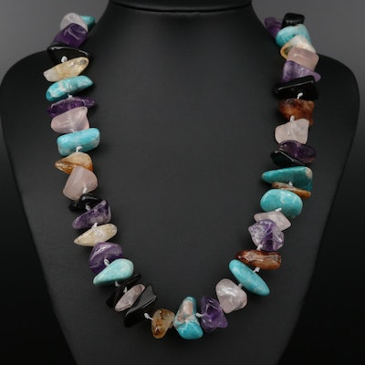 Hand Knotted Amazonite, Amethyst and Rose Quartz Beaded Necklace