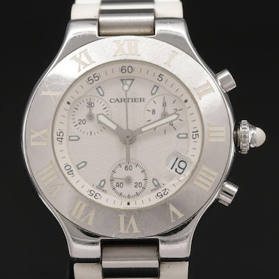 Cartier 21 Chronoscaph Stainless Steel Quartz Wristwatch