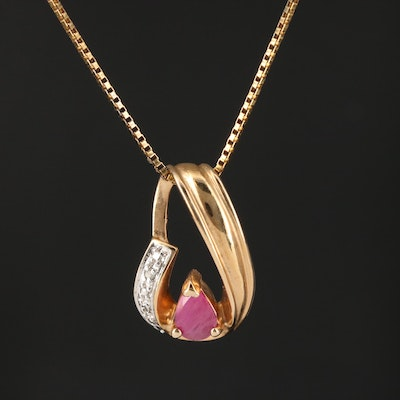 Sterling Silver Ruby and Diamond Pendant Necklace