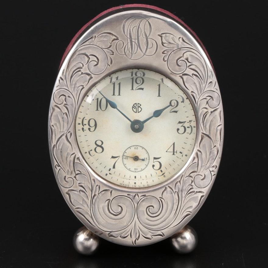 I.N. Deitsch Chased Sterling Silver and Velvet Desk Clock, 1904–1920