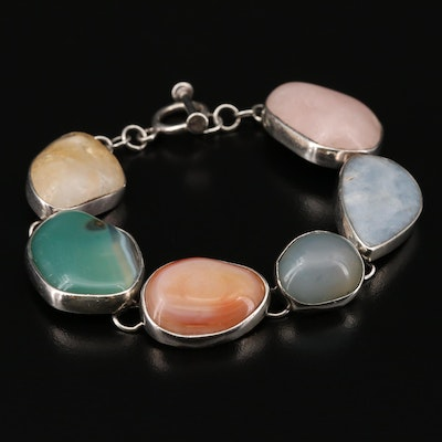 Sterling Silver Agate, Rose Quartz and Citrine Bracelet
