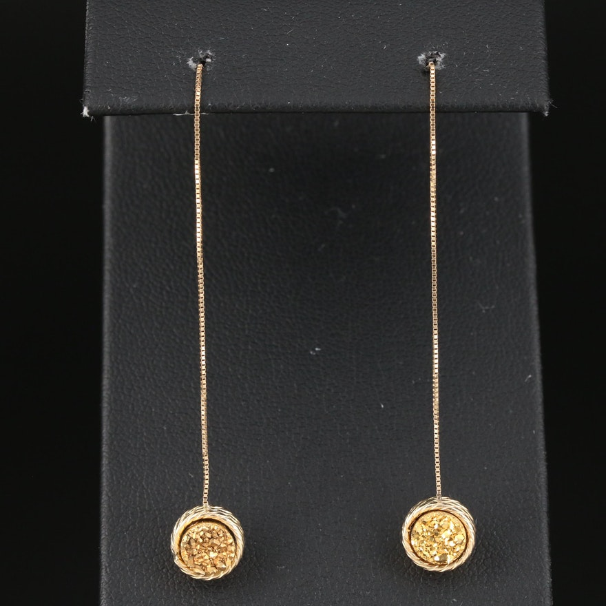 14K Yellow Gold Druzy Threader Earrings