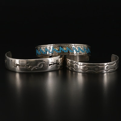 Southwestern Style Sterling Silver Cuff Bracelets with Stone Chips in Resin